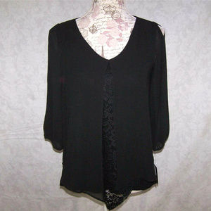 BY & BY Shirt Top XS Layered Two-fer Cold Shoulder